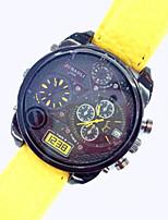 baratos -JUBAOLI Homens Mulheres Unisexo Relógio Militar Quartzo Couro PU Acolchoado Material da Banda Amarelo Dois Fusos Horários Analógico Amarelo