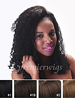 cheap -Human Hair Lace Front Wig Kinky Curly 130% Density 100% Hand Tied African American Wig Natural Hairline Medium Long Women's Human Hair