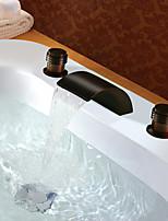 Недорогие -Античный Разбросанная Водопад Медный клапан Две ручки три отверстия Начищенная бронза , Ванная раковина кран