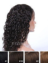 cheap -Human Hair Lace Wig Curly Full Lace 100% Hand Tied African American Wig Natural Hairline 130% Density Dark Black Black Dark Brown Medium