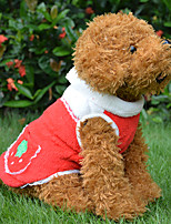cheap -Red/Orange Cotton Coral Fleece Coats Clothing For Dogs