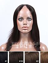 Недорогие -Натуральные волосы Кружевной парик Прямой силуэт U-образный 100% ручная работа Парик в афро-американском стиле Природные волосы 130%