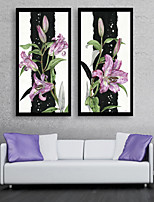 cheap -Botanical Floral/Botanical Leisure Framed Canvas Framed Set Wall Art,PVC Material With Frame For Home Decoration Frame Art Living Room