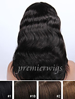 cheap -Human Hair Lace Wig Body Wave Lace Front 100% Hand Tied African American Wig Natural Hairline 130% Density Black Dark Brown Medium Long