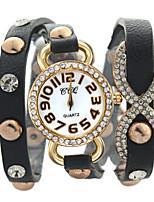 Недорогие -Жен. Модные часы Кварцевый Стеганная ПУ кожа Аналоговый Зеленый Синий Розовый / Нержавеющая сталь