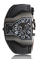 Недорогие -Мужской Наручные часы Кварцевый Кожа Группа Черный Белый