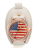 Недорогие -Жен. Модные часы Кварцевый Кожа Аналоговый Белый Зеленый Синий / Нержавеющая сталь