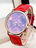 Недорогие -Жен. Модные часы Кварцевый Стеганная ПУ кожа Аналоговый Синий Розовый Темно-красный