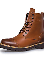 cheap -Men's Shoes Cowhide Winter Fall Combat Boots Boots Mid-Calf Boots for Casual Office & Career Dark Brown Light Brown Black