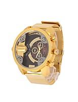 Недорогие -Муж. Армейские часы Кварцевый Нержавеющая сталь Материал ремешка Золотистый С двумя часовыми поясами Аналого-цифровые Белый Черный