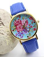 Недорогие -Жен. Модные часы Кварцевый Стеганная ПУ кожа Аналоговый Синий Розовый Светло-синий / Нержавеющая сталь