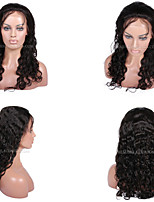 cheap -Human Hair Lace Wig Curly Full Lace Lace Front 100% Hand Tied African American Wig Natural Hairline 130% Density Black Dark Brown #3