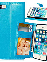 cheap -Case For iPhone 5 Apple iPhone 5 Case Card Holder Wallet with Stand Flip Full Body Cases Solid Color Hard PU Leather for iPhone SE/5s