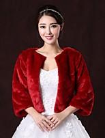 cheap -Fur Coats / Fur Wraps Coats/Jackets 3/4-Length Sleeve Faux Fur Burgundy Wedding / Party/Evening Scoop 31cm Open Front