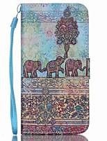 Недорогие -Для Кейс для  Samsung Galaxy Кошелек / Бумажник для карт / со стендом / Флип Кейс для Чехол Кейс для Слон Искусственная кожа SamsungS6