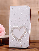 Handmade Diamond Love PU Leather Full Body Case with Kickstand for Samsung Galaxy S3/S4/S5/S5 mini/S6/S6 Edge