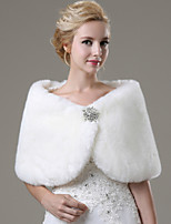 cheap -Sleeveless Faux Fur Wedding / Party Evening / Casual Wedding  Wraps / Fur Wraps With Rhinestone Shawls