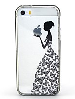 economico -Custodia Per iPhone 5 Apple Custodia iPhone 5 Con torcia LED Transparente Fantasia/disegno Per retro Con logo Apple Morbido TPU per