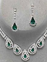 cheap -Women's Sapphire Crystal Citrine Jewelry Set Drop Earrings Pendant Necklace Drop Ladies Luxury Party Elegant Bridal everyday Cubic Zirconia Imitation Diamond Earrings Jewelry Black / Sapphire / Light