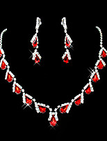 cheap -Women's Red Synthetic Ruby Pendant Necklace Earrings Pear Cut Briolette Drop Ladies Party Elegant everyday Cubic Zirconia Imitation Diamond Earrings Jewelry Red / Red Necklace & Earrings / Blue