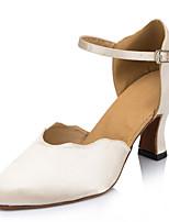 Da donna Danza moderna Seta Sandali Esibizione Con fermaglio di chiusura Tacco cubano Beige 5 - 6,8 cm Personalizzabile