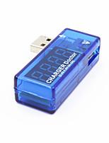 usb-av alimentation USB de testeur de tension actuelle - bleu translucide + argent