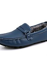 Masculino sapatos Courino Outono Inverno Conforto Forro de fluff Mocassins e Slip-Ons Para Casual Festas & Noite Preto Marron Azul