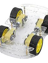 double couche 4-moteur châssis de la voiture intelligente w / disque codé mesure de vitesse - noir + jaune