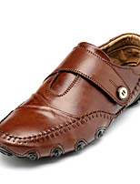 Men's Shoes Leather Fall Winter Moccasin Comfort Loafers & Slip-Ons For Casual Office & Career Brown Black