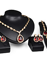 cheap -Women's Synthetic Ruby Jewelry Set Pear Cut Drop Ladies Elegant Italian fancy Earrings Jewelry Navy Blue / Red For Wedding Party Masquerade Engagement Party Prom Promise / Rings / Necklace