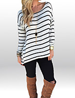 Women's Going out Casual/Daily Simple Street chic Spring Fall T-shirtStriped Round Neck Long Sleeves Polyester Medium
