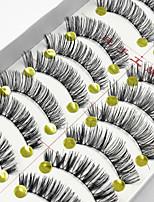 Недорогие -10 Ресницы Ресницы Ленточные накладные ресницы Ресницы Натуральная длина Зрительно удлиняет уголок глаза Натуральный Ручная работа Волокно