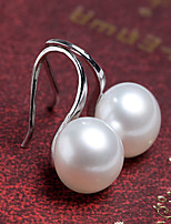 Women's Fashion Korean Style Silver Plated Large Pearl Stud Earrings
