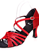 "cheap -Women's Latin Satin Glitter Sandal Performance Splicing Flared Heel Red Silver Brown Black Gold 2"" - 2 3/4"" Customizable"