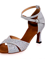 "cheap -Women's Latin Glitter Sandal Performance Flared Heel Blue Red Silver Brown Black 2"" - 2 3/4"" Customizable"