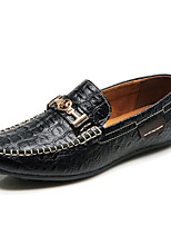 Men's Shoes Leather Spring Summer Driving Shoes Comfort Loafers & Slip-Ons Buckle For Office & Career Party & Evening Green Brown Dark