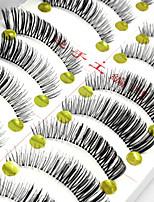Недорогие -10 Ресницы Ресницы Ленточные накладные ресницы Ресницы Натуральная длина Длиннее на конце Натуральный Ручная работа Волокно Transparent