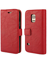 Bark Grain Genuine Leather Full Body Cover with Stand and Case for Samsung Galaxy S5 Mini