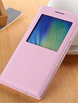 baratos -Para Samsung Galaxy Capinhas com Visor / Flip Capinha Corpo Inteiro Capinha Cor Única Couro PU Samsung A5