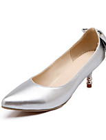 Women's Shoes Patent Leather Spring Fall Comfort Heels Stiletto Heel Pointed Toe Bowknot For Outdoor Office & Career Silver Black White