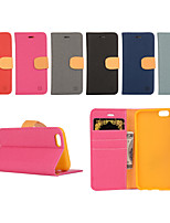 Недорогие -Кейс для Назначение iPhone 5 / Apple Кейс для iPhone 5 Кошелек / Бумажник для карт / со стендом Чехол Однотонный Твердый Кожа PU для iPhone SE / 5s / iPhone 5