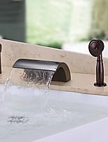 Недорогие -Античный Разбросанная Водопад Ручная лейка входит в комплект Медный клапан Одной ручкой три отверстия Начищенная бронза , Смеситель для