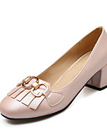 Women's Shoes PU Spring Fall Comfort Heels Chunky Heel Square Toe Tassel(s) For Outdoor Office & Career Almond Blushing Pink Gray Black