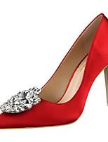 Women's Shoes Silk Fleece Spring Summer Basic Pump Novelty Heels Stiletto Heel Pointed Toe Rhinestone For Party & Evening Dress Blushing
