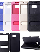 cheap -View Window PU Leather Flip Cover Case With Stand for Samsung S7/S7 Edge