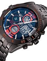 preiswerte -Herrn Armbanduhr Japanisch Quartz Japanischer Quartz Alarm Kalender Chronograph Wasserdicht Duale Zeitzonen Edelstahl Band Luxus Schwarz