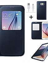 cheap -View Window Flip Leather Case Cover With Automatic Smart Sleep For Samsung Galaxy S6/S6 Edge Plus/S7/S7 Edge + USB Cable