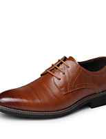 cheap -Men's Shoes Synthetic Patent Leather Spring Summer Formal Shoes Comfort Oxfords Stitching Lace for Casual Office & Career Khaki Blue