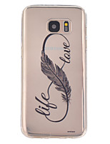 abordables -Para Samsung Galaxy S7 Edge Transparente / En Relieve Funda Cubierta Trasera Funda Pluma TPU SamsungS7 Active / S7 plus / S7 edge / S7 /