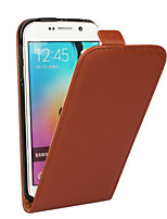cheap -For Samsung Galaxy Case Flip Case Full Body Case Solid Color Genuine Leather Samsung S6 edge plus / S6 edge / S6 / S5 / S4 / S3